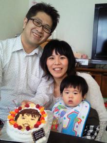 1歳誕生日、豆乳クリームの似顔絵ケーキ