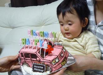 ラパン、車の立体ケーキ