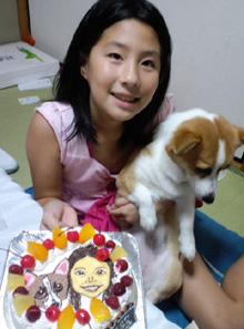 犬とお子様の似顔絵ケーキ