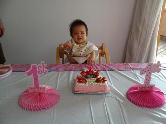 1歳誕生日、1の数字ケーキ