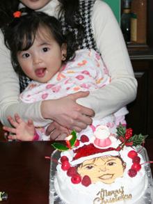 似顔絵、クリスマスケーキ
