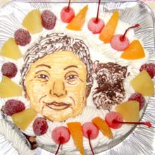母と愛犬の似顔絵ケーキ