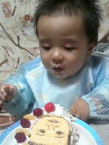 1歳のお誕生日、似顔絵ケーキ