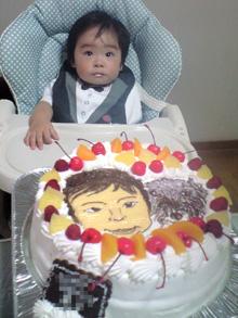 お子様と犬の似顔絵ケーキ