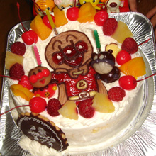 アンパンマン、ばいきんまんのケーキ