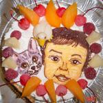 1歳誕生日、猫とお子様の似顔絵ケーキ