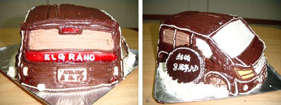 日産エルグランド、車の立体ケーキ