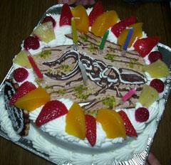 クワガタのイラストケーキ