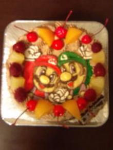 スーパーマリオブラザーズ、マリオ、ルイージのキャラクターケーキ