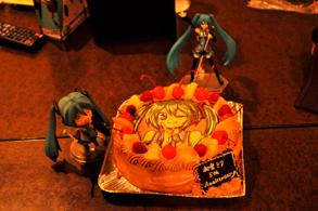 初音ミクのイラストケーキ