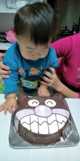 ばいきんまんの顔型 立体ケーキ