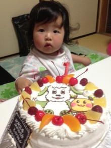 1歳誕生日、わんわん、うーたんのケーキ