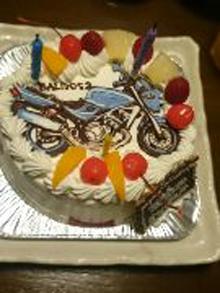 バイクのイラストケーキ