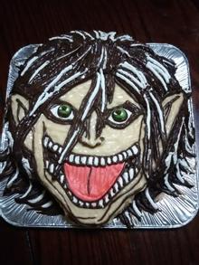 進撃の巨人のエレン、顔型立体ケーキ