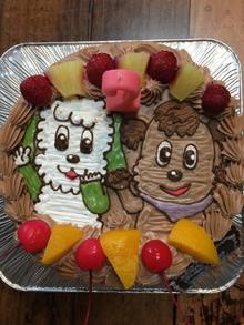 ワンワンとジャンジャンのキャラクターケーキ、チョコレートクリーム