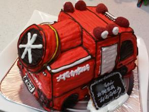 消防車、大型ブロワー車の立体ケーキ