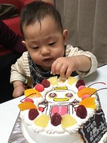 1歳のお誕生日、ガラピコのキャラクターケーキ