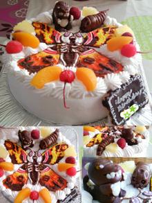 ゴジラVSモスラのマスコット付きキャラクターケーキ