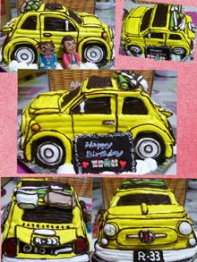フィアット500、車の立体ケーキ