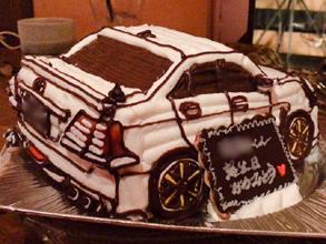 誕生日、愛車の立体ケーキ