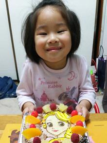 誕生日、ラプンツェルのキャラクターケーキ