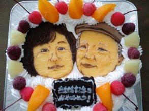 結婚記念日のカップル似顔絵ケーキ