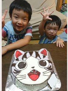 こねこのチーの顔型立体ケーキ