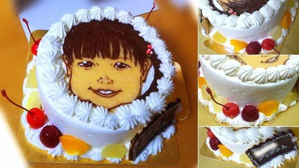 2人用ホールケーキSサイズ4号12cm、似顔絵ケーキ