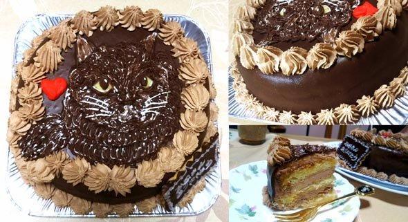 猫の似顔絵、たっぷりチョコがけ5号チョコクリームケーキ(直径15センチ)
