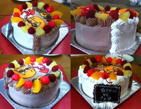 チョコクリームと白クリームのハーフ&ハーフケーキ(5号ホールケーキの例)
