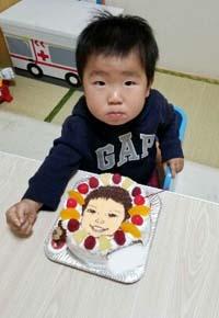 マスコット付き似顔絵ケーキ、お子様のお誕生日