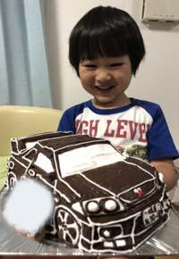 愛車の立体ケーキ、お子様のお誕生日