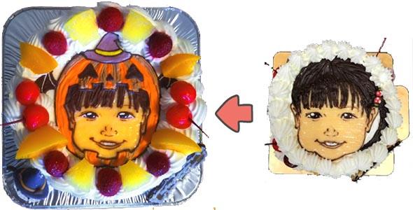 かぼちゃの着ぐるみキャラクター、似顔絵ケーキ