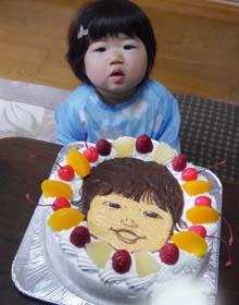 似顔絵ケーキ、お孫さんのお誕生日