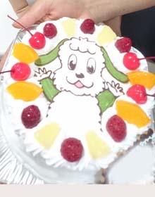 ワンワンのキャラケーキ、お子様のお誕生日