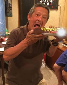 マスコット付きカヌーの立体ケーキ