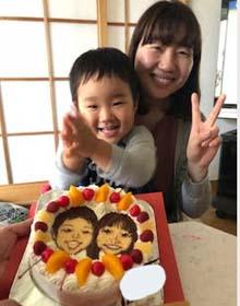 似顔絵ケーキ、ご家族のお誕生日