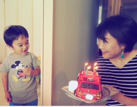 消防車の立体ケーキ、お子様のお誕生日