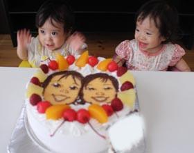似顔絵ケーキ、お子様の1歳のお誕生日