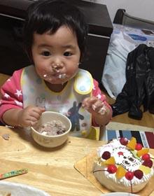 ワンワンのキャラケーキ、1歳のお子様のお誕生日