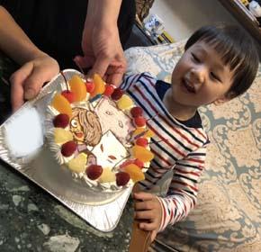 鬼太郎のキャラケーキ、お子様のお誕生日