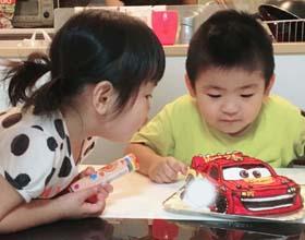 マックイーンの立体ケーキ、お子様のお誕生日