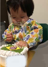 国旗のキャラケーキ、1歳のお誕生日、スマッシュケーキ