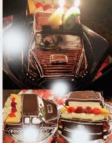 フロントにマイク・TOYOTA タコマ の立体ケーキ、フルーツ付き