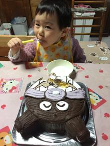 バイキンマン顔型立体ケーキ