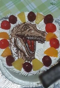 恐竜のイラストケーキ