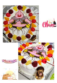 ドラゴンボール、魔神ブーとサタンのマスコット付きケーキ