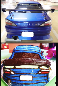 車の立体ケーキ