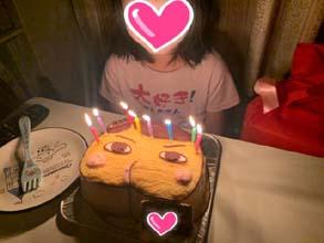 おしりたんていの顔型立体ケーキ