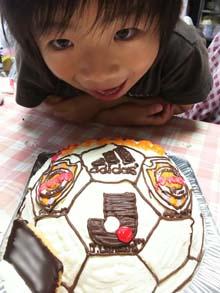 サッカーボールの立体ケーキ(清水エスパルスver)